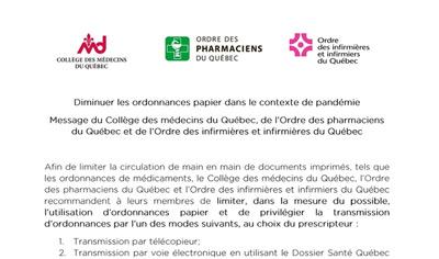 Diminuer les ordonnances papier dans le contexte de la pandémie