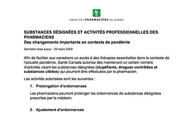 Substances désignées et activités professionnelles des pharmaciens