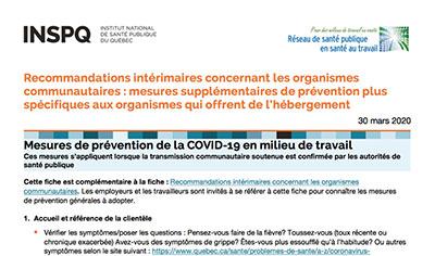 COVID-19 : Mesures supplémentaires de prévention plus spécifiques aux organismes qui offrent de l'hébergement