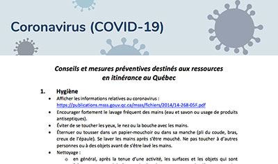 Conseils et mesures préventives destinés aux ressources en itinérance au Québec