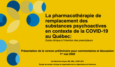 La pharmacothérapie de remplacement des substances psychoactives en contexte de la COVID-19 au Québec